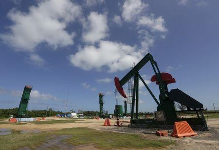 An oil pump is seen in Varadero, Matanzas province, Cuba, during an organized tour by the state-run Cuba-Petroleo (CUPET),