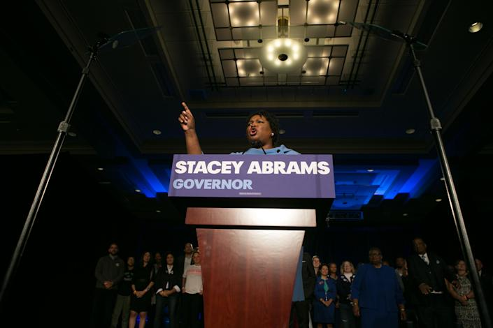 Georgia's Democratic gubernatorial candidate, Stacey Abrams, addresses supporters at an election watch party in Atlanta. (Photo: Jessica McGowan/Getty Images)