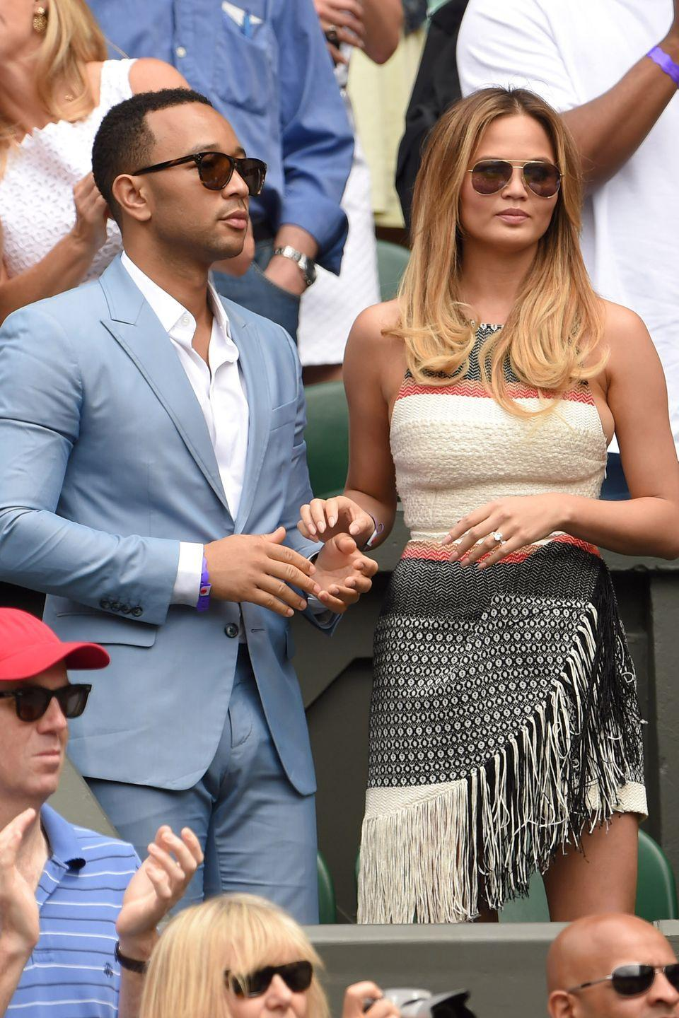 <p><strong>2015</strong> Chrissy Teigen chose a strapless fringed dress to attend the tennis with her husband John Legend.</p>