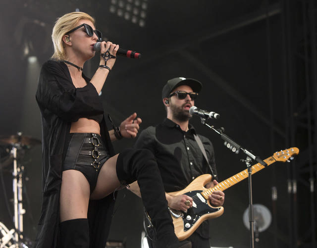 <p>Sarah Barthel, left, and Josh Carter of the band Phantogram perform on Day 4 of the 2017 Firefly Music Festival at The Woodlands on Sunday, June 18, 2017, in Dover, Del. (Photo by Owen Sweeney/Invision/AP) </p>