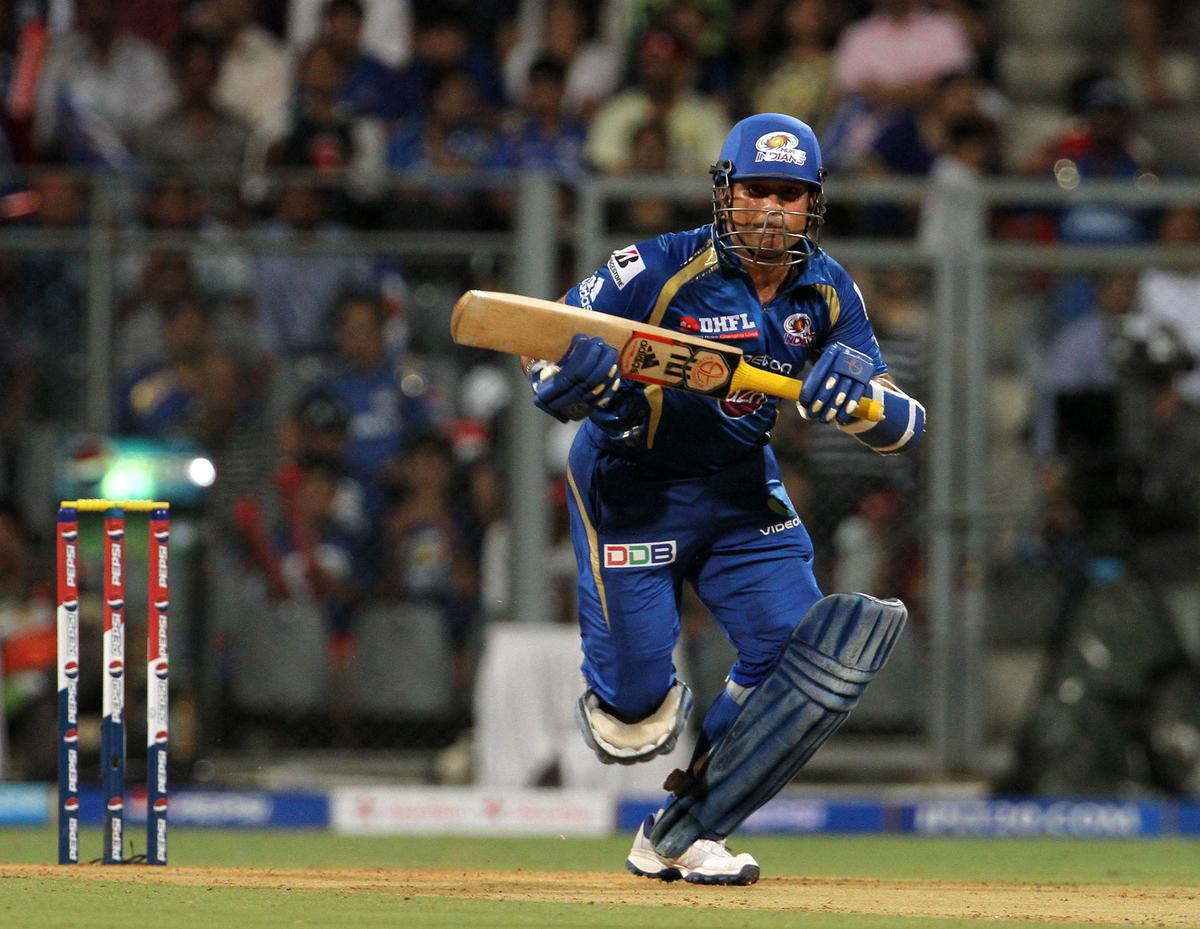 Mumbai Indian player Sachin Tendulkar takes a run during match 62 of the Pepsi Indian Premier League ( IPL) 2013  between The Mumbai Indians and the Sunrisers Hyderabad held at the Wankhede Stadium in Mumbai on the 13th May 2013 ..Photo by Vipin Pawar-IPL-SPORTZPICS  ..Use of this image is subject to the terms and conditions as outlined by the BCCI. These terms can be found by following this link:..https://ec.yimg.com/ec?url=http%3a%2f%2fwww.sportzpics.co.za%2fimage%2fI0000SoRagM2cIEc&t=1506450072&sig=IwQovbRqqVSH7o2KnUvgMw--~D