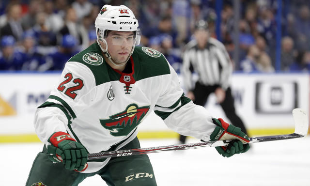 FILE - In this March 7, 2019, file photo, Minnesota Wild left wing Kevin Fiala skates during the first period of the team's NHL hockey game against the Tampa Bay Lightning in Tampa, Fla. The Wild have re-signed Fiala to a two-year, $6 million contract. The deal with the restricted free agent was done Wednesday, Sept. 11, two days before the teams first practice of training camp. Fiala will make $2.5 million this season and $3.5 million in 2020-21, for with an annual salary cap hit of $3 million. (AP Photo/Chris O'Meara, File)