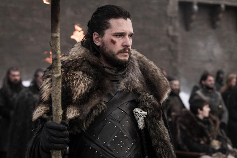 Jon Snow (Kit Harington) pays tribute to the fallen in the fourth episode of the final season of 'Game of Thrones' (Photo: Helen Sloan/HBO)