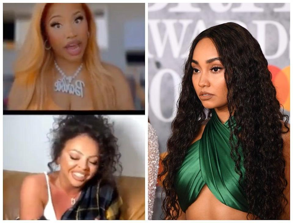 Nicki Minaj (top left) and Jesy Nelson (bottom left) took part in an Instagram Live in which they appeared to mock Nelson's former bandmate, Leigh-Anne Pinnock (Instagram/Getty)