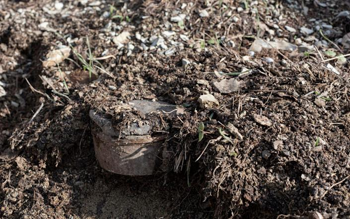 An old anti-personnel landmine awaits demolition in a minefield planted during the Iran-Iraq war, in the village of Dir - Sam Tarling/Sam Tarling