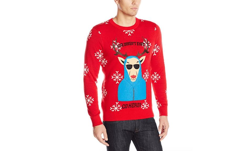 """<p>Quit trying to make ugly Christmas sweaters happen, Gretchen Wieners. <strong><a rel=""""nofollow noopener"""" href=""""https://holidaycrush.com/collections/knitted-sweaters/products/mean-girls-she-doesnt-even-go-here-sweater?variant=52930700179"""" target=""""_blank"""" data-ylk=""""slk:Buy here"""" class=""""link rapid-noclick-resp"""">Buy here</a></strong> </p>"""