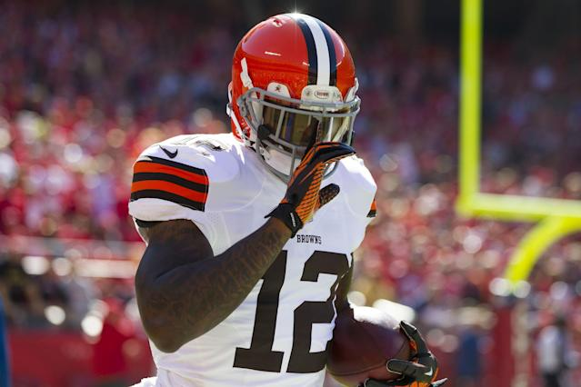 KANSAS CITY, MO - OCTOBER 27: Wide receiver Josh Gordon #12 of the Cleveland Browns celebrates after scoring a touchdown during the game against the Kansas City Chiefs at Arrowhead Stadium on October 27, 2013 in Kansas City, Missouri. (Photo by David Welker/Getty Images)