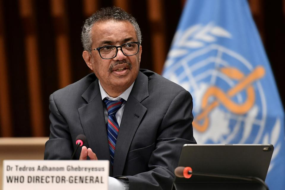 World Health Organization (WHO) Director-General Tedros Adhanom Ghebreyesus attends a news conference organized by Geneva Association of United Nations Correspondents (ACANU) amid the COVID-19 outbreak, caused by the novel coronavirus, at the WHO headquarters in Geneva Switzerland July 3, 2020. Fabrice Coffrini/Pool via REUTERS