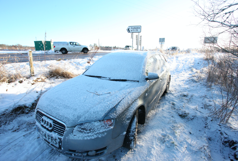 Snow earlier this month causes hazardous driving conditions in Scotland (Picture: Rex)