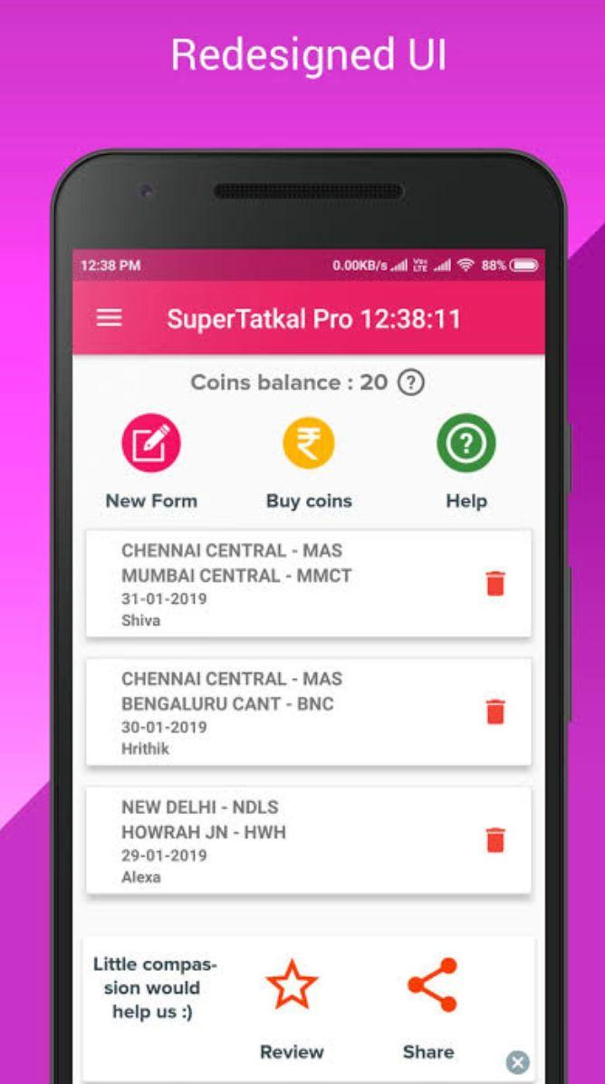 A screengrab of the Super Tatkal Pro app before it was deactivated. (Photo: )