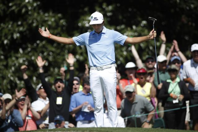 Rickie Fowler of the U.S. reacts to sinking a putt to save par on the 6th green during second round play of the 2018 Masters golf tournament at the Augusta National Golf Club in Augusta, Georgia, U.S., April 6, 2018. REUTERS/Mike Segar