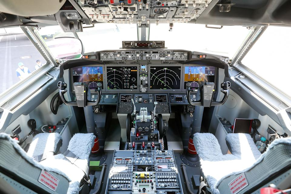 Instruments and controls sit in the cockpit of a Boeing Co. 737 Max 7 jetliner during preparations ahead of the Farnborough International Airshow (FIA) 2018 in Farnborough, U.K., on Sunday, July 15, 2018. The air show, a biannual showcase for the aviation industry, runs until July 22. Photographer: Simon Dawson/Bloomberg via Getty Images