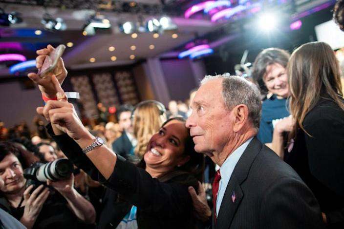 """Democratic U.S. presidential candidate Bloomberg greets supporters at the end of his campaign event """"Women for Mike"""" in the Manhattan borough of New York City, New York"""