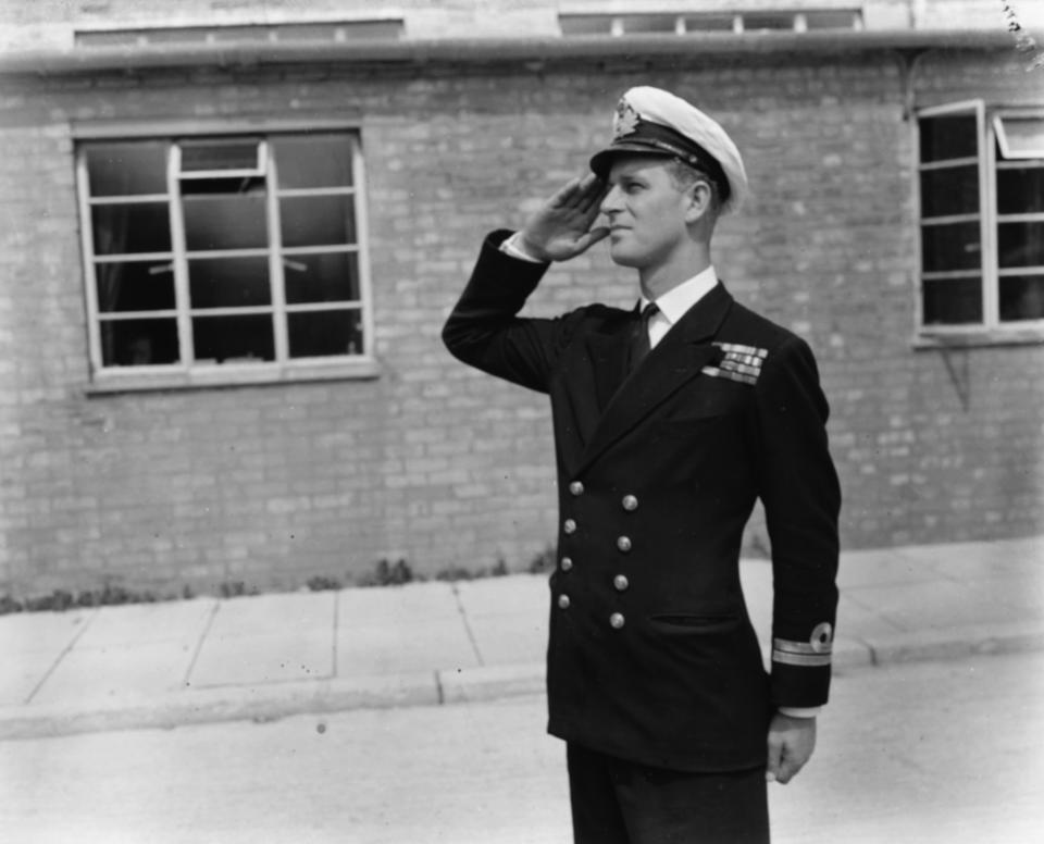 Lieutenant Philip Mountbatten, prior to his marriage to Princess Elizabeth, saluting as he resumes his attendance at the Royal Naval Officers School at Kingsmoor, Hawthorn, England, July 31st 1947.