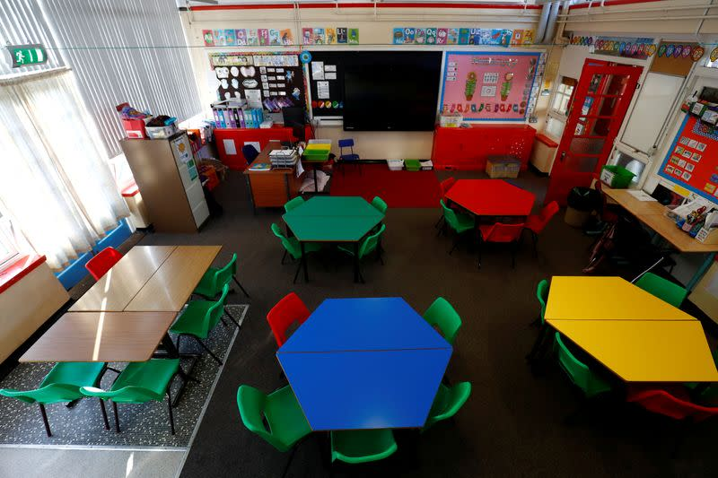 FILE PHOTO: General view of a empty classroom at Nettlefield Primary School as the majority of schools in the UK close while the spread of the coronavirus disease (COVID-19) continues