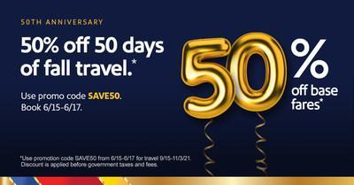 Southwest Airlines offers 50% off base fares for 50 days of fall travel