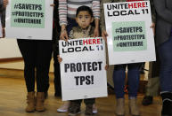 <p>Mateo Barrera, 4 originally from El Salvador, whose family members benefit from Temporary Protected Status attend a news conference in Los Angeles, Monday, Jan. 8, 2018. (Photo: Damian Dovarganes/AP) </p>