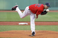 Boston Red Sox starting pitcher Rick Porcello delivers to the Minnesota Twins during the first inning of a baseball game Wednesday, June 3, 2015, in Boston. (AP Photo/Elise Amendola)