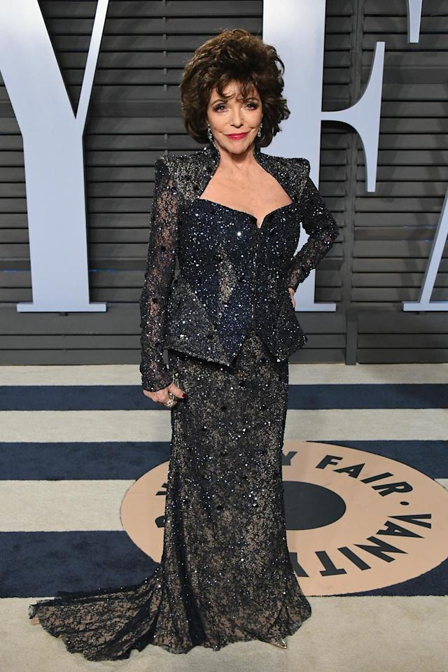 <p>Living legend Collins brought her signature<em> Dynasty</em> glamour to the red carpet. (Photo: Jon Kopaloff/WireImage) </p>