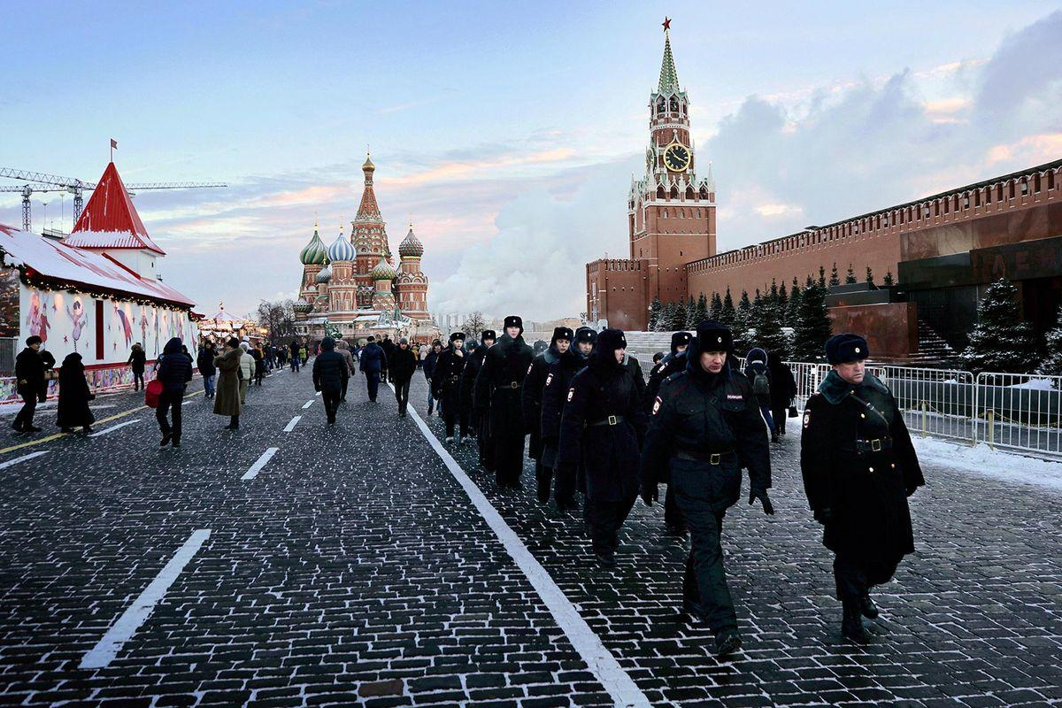 MOSCOW, RUSSIA - JANUARY 8:Moscow Sunday Jan 8 Russian police march along the Kremlin wall on Red Square. Temperatures during the weekend dipped below minus 20 F. (Photo by David Filipov/ The Washington Post via Getty Images)