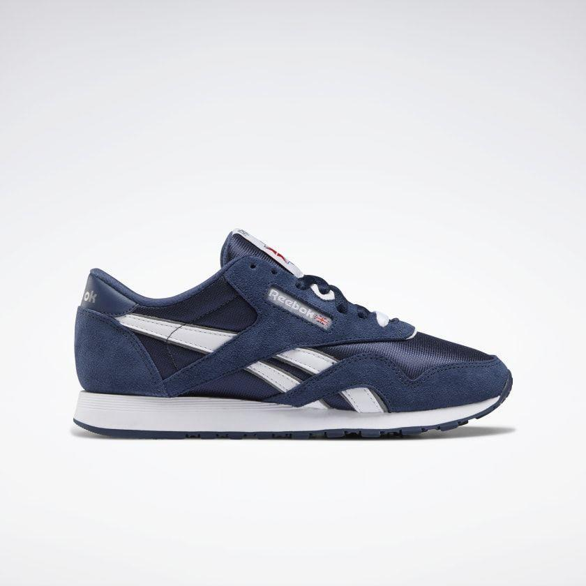 "<p><strong>reebok</strong></p><p>reebok.com</p><p><a href=""https://go.redirectingat.com?id=74968X1596630&url=https%3A%2F%2Fwww.reebok.com%2Fus%2Fclassic-nylon-women-s-shoes%2FFV4508.html&sref=https%3A%2F%2Fwww.cosmopolitan.com%2Fstyle-beauty%2Ffashion%2Fg35698753%2Fshop-hauliday-shoe-sale%2F"" rel=""nofollow noopener"" target=""_blank"" data-ylk=""slk:Shop Now"" class=""link rapid-noclick-resp"">Shop Now</a></p><p><strong><del>$65</del> $39</strong></p><p>The contrast of the white and navy on these Reebok shoes makes them stand out amongst your solid-colored footwear. </p>"