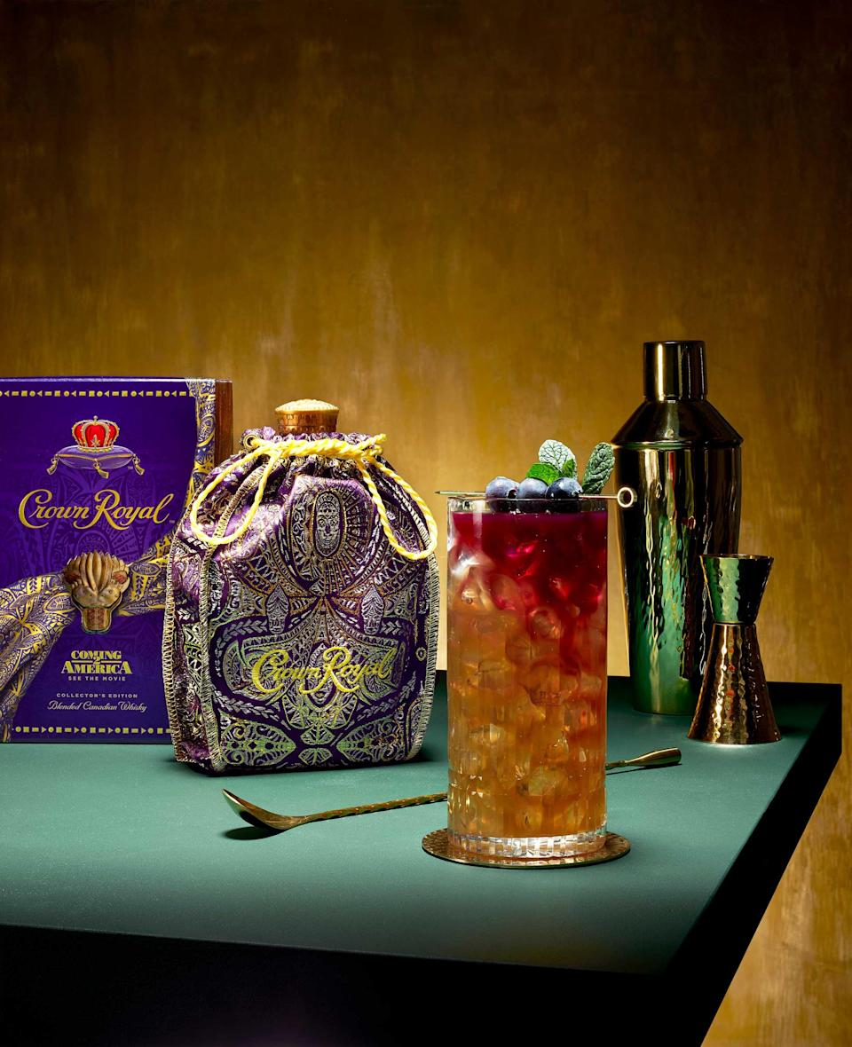 Sip on the delicious Crown Royal Sour Glow cocktail during the Coming 2 America movie premiere on March 5th. Recipe courtesy of Buzzfeed Tasty.