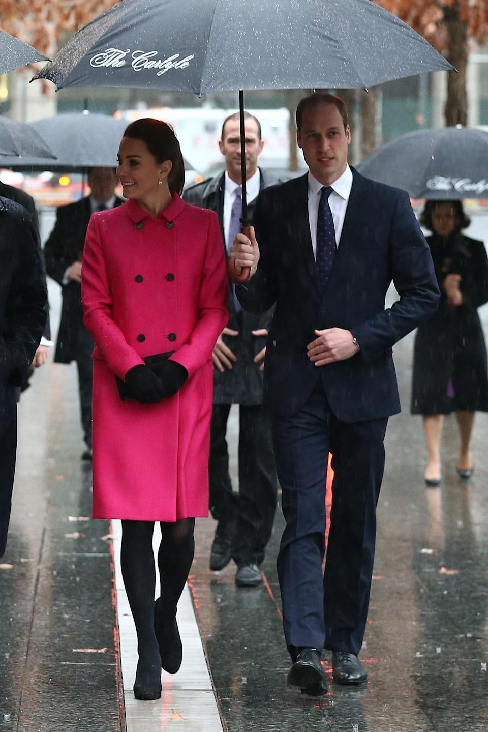 <p>The Duchess donned a cerise Mulberry coat for a visit to the 9/11 memorial in New York. A black clutch - also by Mulberry - and black pumps finished the look. </p><p><i>[Photo: PA]</i></p>