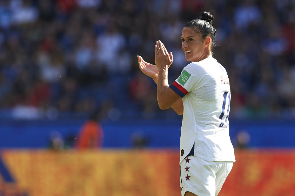 PARIS, FRANCE - JUNE 16: Ali Krieger of USA looks on during the 2019 FIFA Women's World Cup France group F match between USA and Chile at Parc des Princes on June 16, 2019 in Paris, France. (Photo by Quality Sport Images/Getty Images)