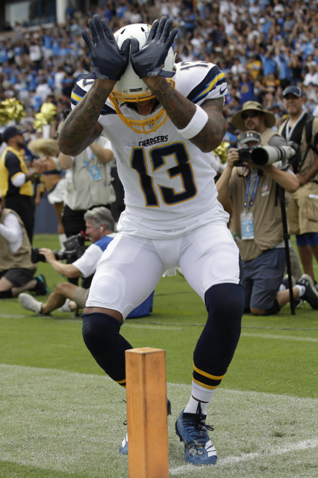 Los Angeles Chargers wide receiver Keenan Allen celebrates after scoring against the Houston Texans during the first half of an NFL football game Sunday, Sept. 22, 2019, in Carson, Calif. (AP Photo/Marcio Jose Sanchez)