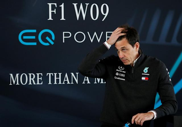 F1 Formula One - Mercedes 2018 Car Launch - Silverstone Circuit, Towcester, Britain - February 22, 2018 Mercedes' Executive Director Toto Wolff during the press conference Action Images via Reuters/Matthew Childs