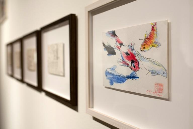 """The """"Japanese Notebook"""" exhibition shows his quick but harmonious drawings of temples, castles, sumo wrestlers, koi fish, kabuki theatre actors, gardens, cherry-blossom trees -- all that fascinated him (AFP Photo/BARTOSZ SIEDLIK)"""
