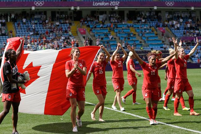 Team Canada celebrates bronze medal win in women's soccer at the Olympics