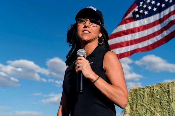 PHOTO: Lauren Boebert, the Republican candidate for the US House of Representatives seat in Colorado's 3rd Congressional District, addresses supporters during a campaign rally in Colona, Colo., Oct. 10, 2020. (Jason Connolly/AFP via Getty Images)