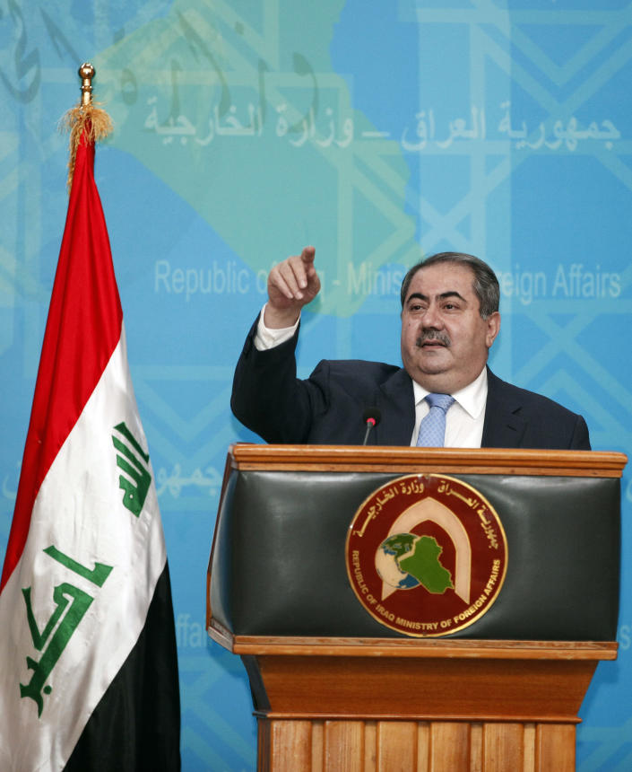 """Iraqi Foreign Affairs Minister Hoshyar Zebari speaks at a press conference in Baghdad, Iraq, Thursday, July 5, 2012. Zebari says the government has """"solid information and intelligence"""" about al-Qaida militants infiltrating Syria from Iraq to carry out attacks. (AP Photo/Karim Kadim)"""