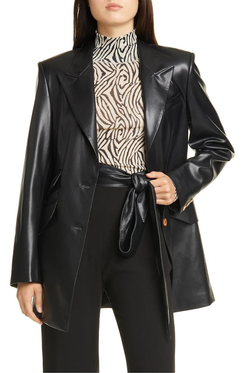 Nanushka vegan leather blazer (Photo via Nordstrom)
