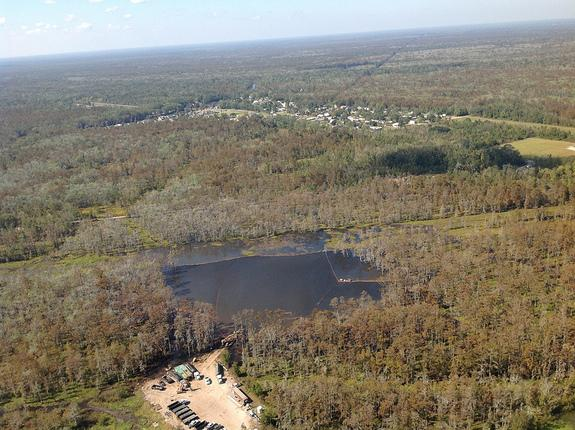 A sinkhole that opened up in Bayou Corne, La., after brine mining created a cavern in a salt done that later collapsed.