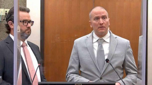 PHOTO: Former Minneapolis police Officer Derek Chauvin, accompanied by defense attorney Eric Nelson, addresses the court during his sentencing proceedings on June 25, 2021, at the Hennepin County Courthouse in Minneapolis. (Court TV via AP, FILE)