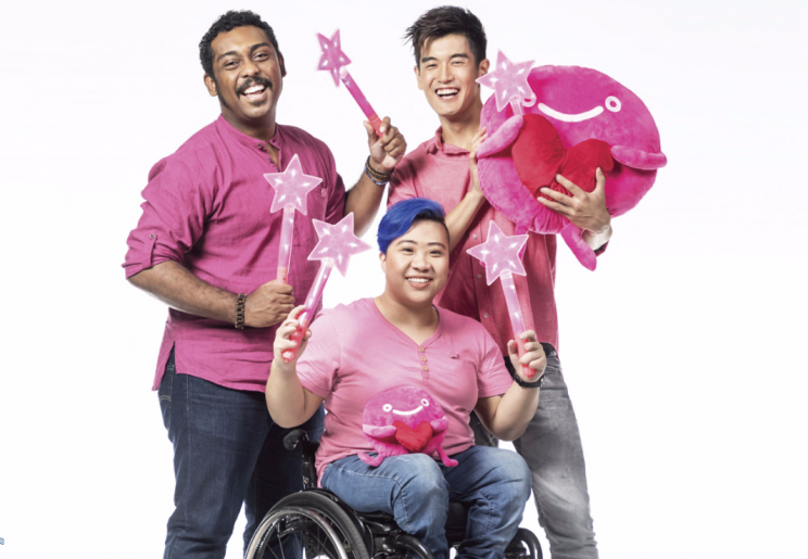 Nathan Hartono, Ebi Shankara and Theresa Goh are this year's Pink Dot ambassadors. (Photo: Pink Dot)