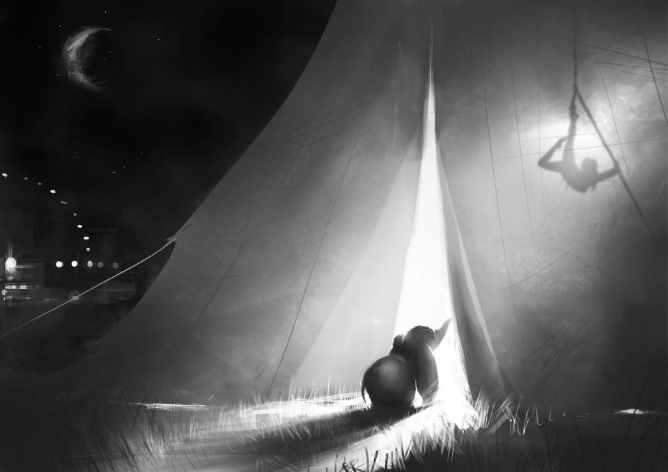 Dumbo peeks inside the big top in concept art from Tim Burton's live-action film. (Image courtesy of Disney)