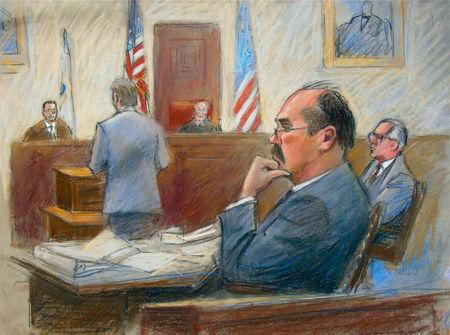 Arthur Rathburn, convicted of defrauding customers by supplying infected body parts and transporting hazardous materials, listens to testimony at his trial in Detroit, Michigan, U.S. January 10, 2018 in this court sketch. REUTERS/Jerry Lemenu