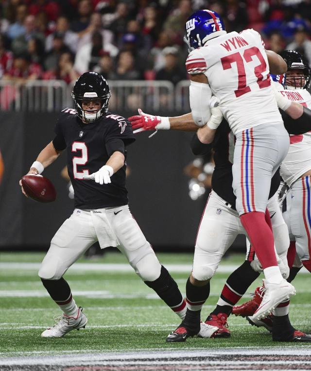 Atlanta Falcons quarterback Matt Ryan (2) works in the pocket before he is sacked against the New York Giants during the first half of an NFL football game, Monday, Oct. 22, 2018, in Atlanta. (AP Photo/John Amis)