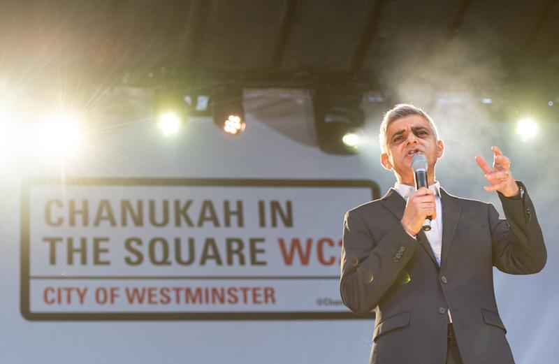 Mayor of London Sadiq Khan speaking during the annual Menorah Lighting Ceremony on Trafalgar Square in London to mark Chanukah, the Jewish festival of lights.
