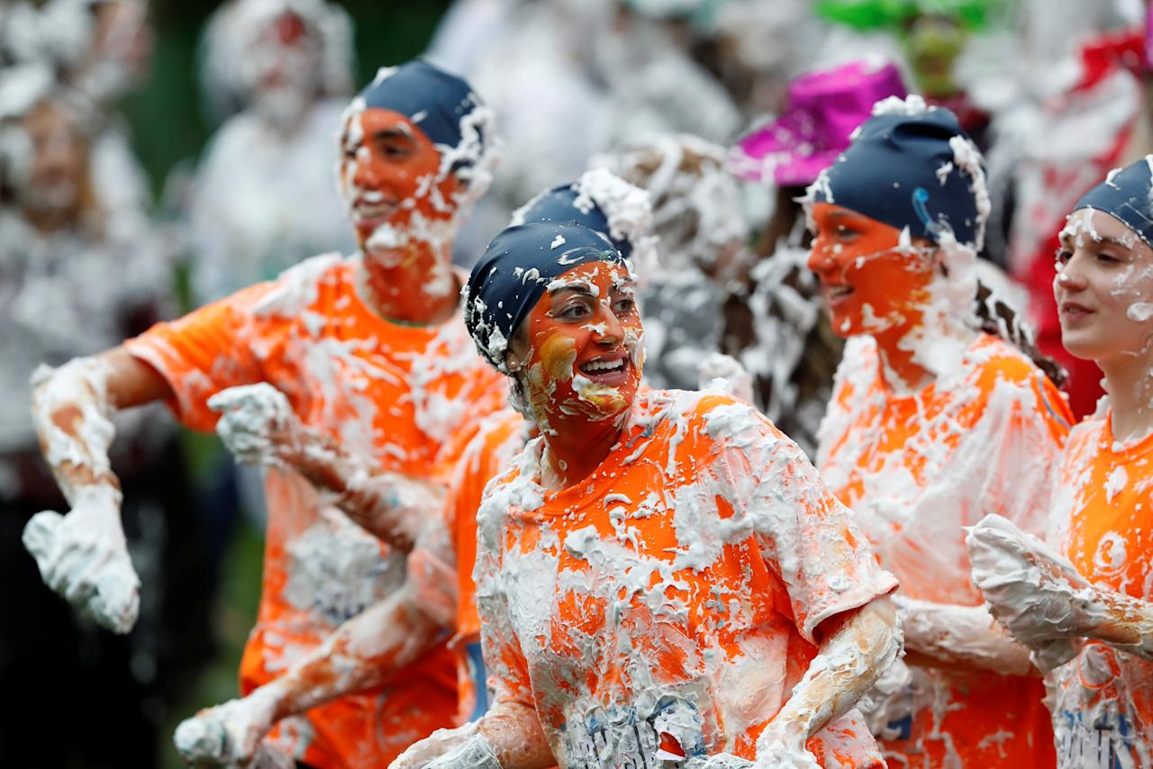 "<p>Students from St Andrews University are covered in foam as they take part in the traditional ""Raisin Weekend"" on Lower College Lawn, at St Andrews, Scotland, Oct. 23, 2017. (Photo: Russell Cheyne/Reuters) </p>"