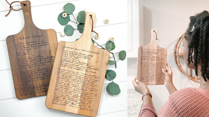 Best personalized gifts 2020: MorningJoyCo Recipe Cutting Board