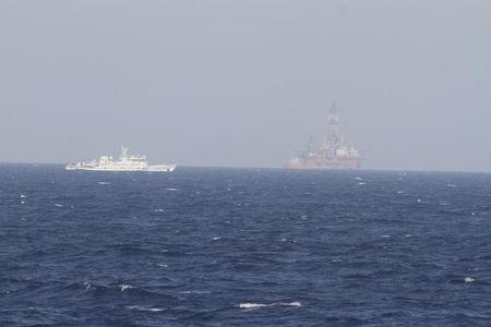 A ship of Chinese Coast Guard is seen near Chinese oil rig Haiyang Shi You 981 in the South China Sea