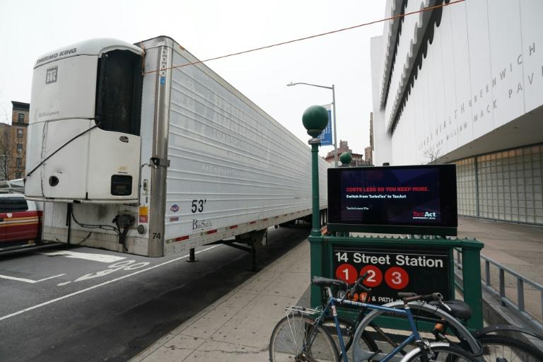 A makeshift morgue sits outside of the Lenox Health Greenwich Village facility to handle an expected surge in coronavirus victims in New York City