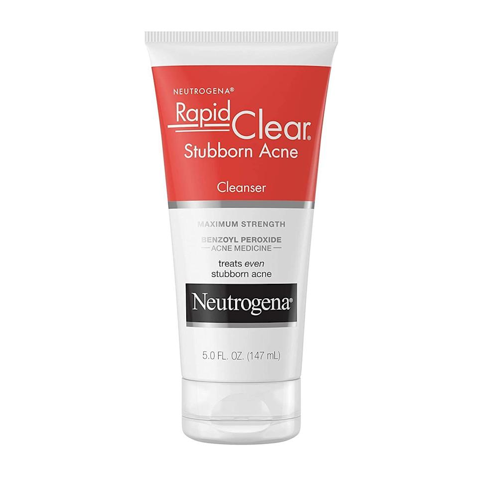 """<p><strong>Neutrogena</strong></p><p>amazon.com</p><p><strong>$7.47</strong></p><p><a href=""""https://www.amazon.com/dp/B00S49XI6M?tag=syn-yahoo-20&ascsubtag=%5Bartid%7C10051.g.37014835%5Bsrc%7Cyahoo-us"""" rel=""""nofollow noopener"""" target=""""_blank"""" data-ylk=""""slk:Shop Now"""" class=""""link rapid-noclick-resp"""">Shop Now</a></p><p>If you're dealing with more than a cute spattering of pimples, and you need the heavy duty stuff, look no further. This cleanser means business, with 1o% benzoyl peroxide to cure even the most persistent breakout.</p>"""