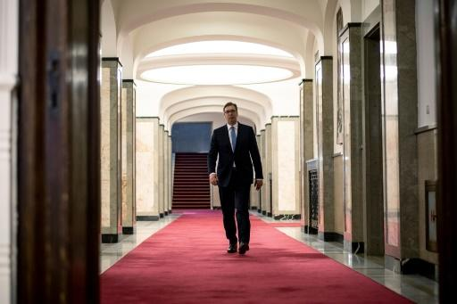 Serbian President Aleksandar Vucic arrives for an interview with AFP on May 14, 2018, in Belgrade