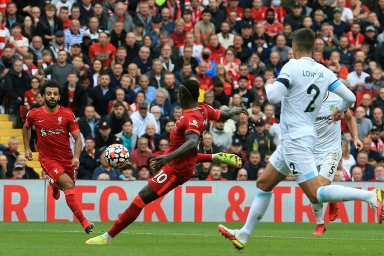 Sadio Mane (centre)struck his first goal of the season for Liverpool