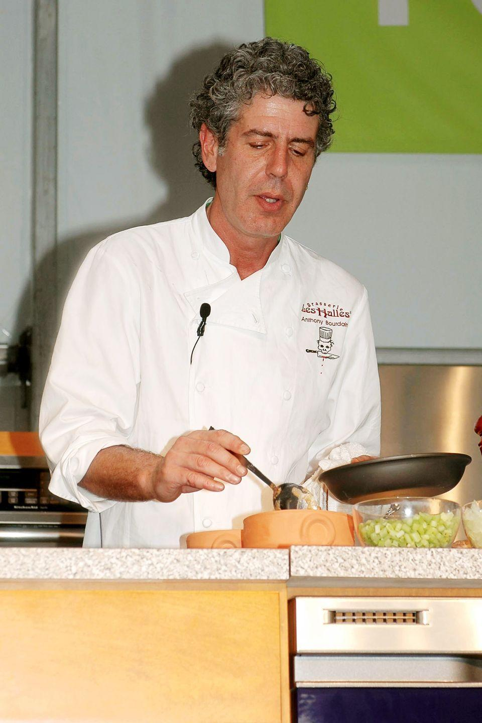 <p>Bourdain does a cooking demonstration at the South Beach Food and Wine Festival on February 26, 2005.</p>
